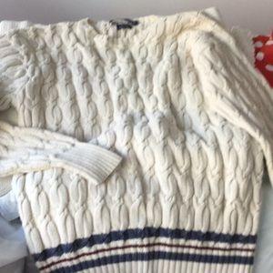 Hand knit RL cotton sweater, M